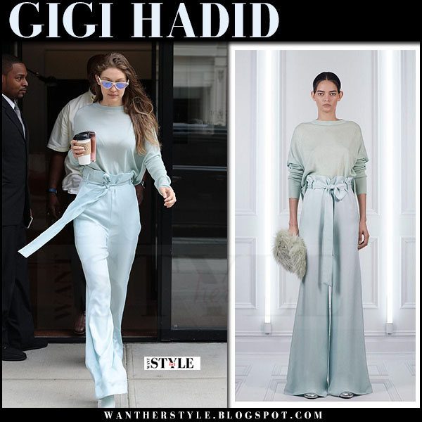 Gigi Hadid in light blue sweater, light blue paper bag waist trousers sally lapointe what she wore june 15 2017
