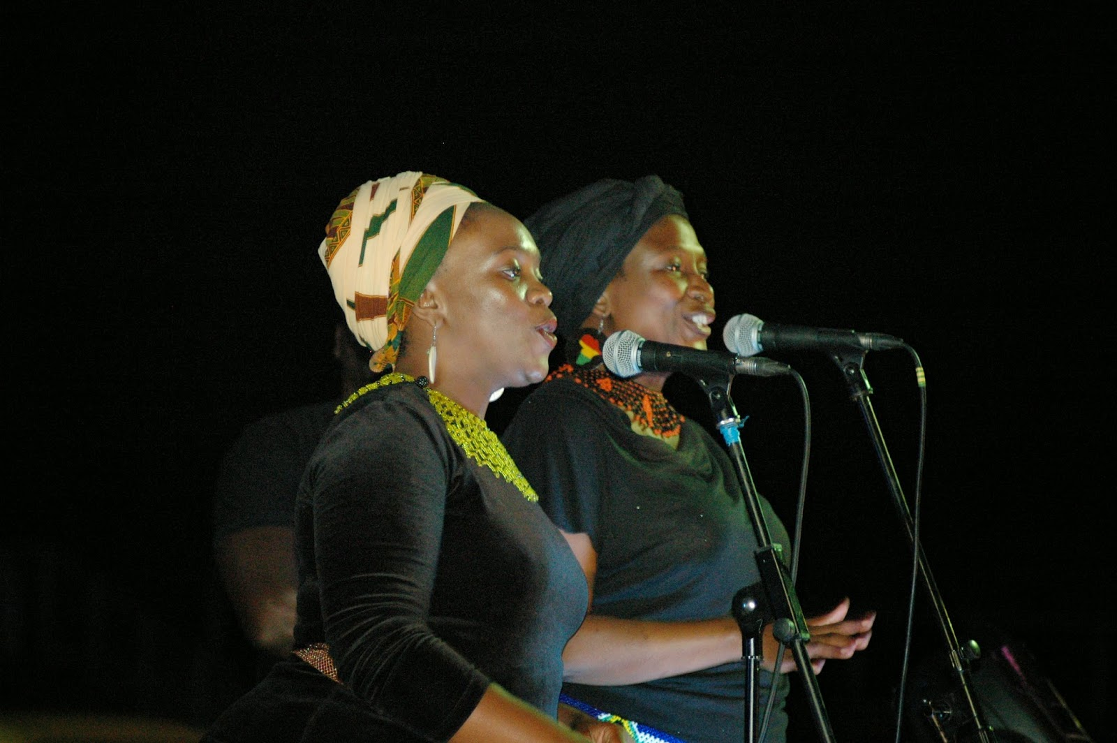 Nomawethu and mpumi the backing vocalists during the luciano show
