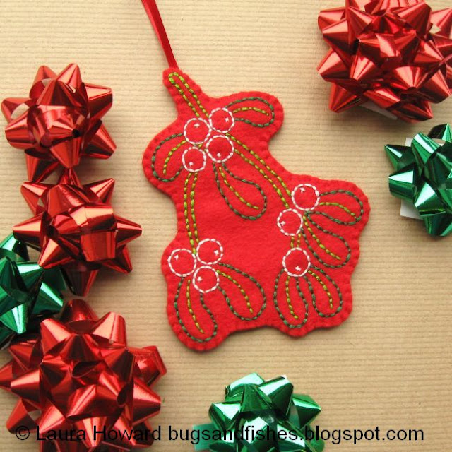 embroidered felt mistletoe ornament