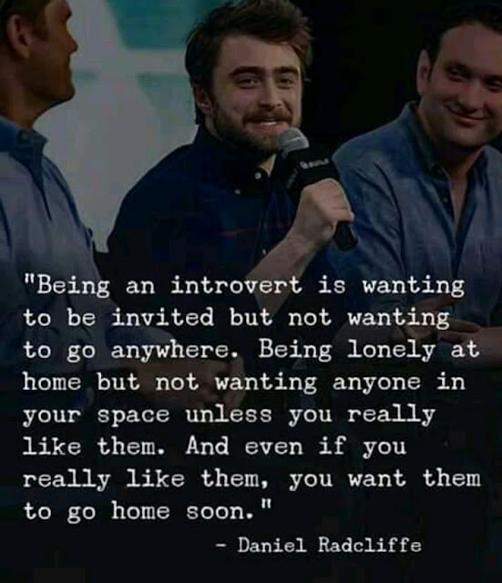 SAYING BY DANIEL REDCLIF,INTROVERT