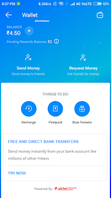Hike wallet earn money