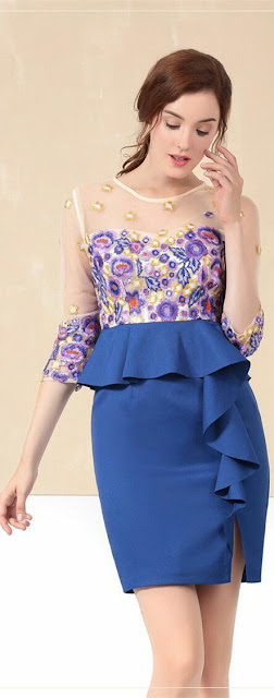 Sheer sleeve blue Emderiod