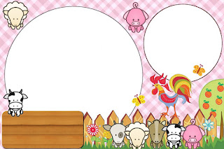 Baby Farm in Pink Free Printable Invitations, Labels or Cards.