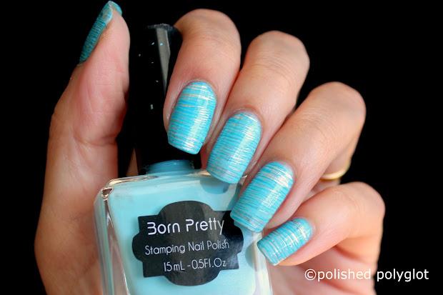 nail art aqua blue design