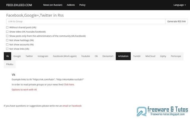 Feed Exileed  : un outil web pour obtenir les flux RSS des principaux réseaux sociaux