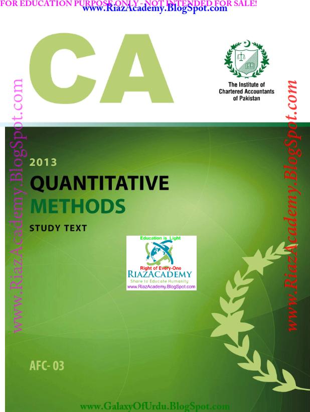 2013-CA ICAP-AFC 03 - QUANTITATIVE METHODS - Study Text Revised