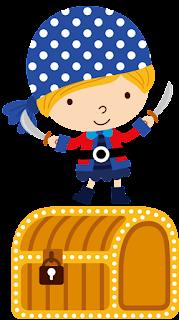 pirata con cofre del tesoro para imprimir