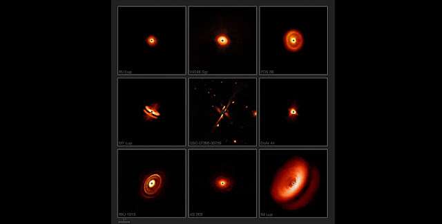 New images from the SPHERE instrument on ESO's Very Large Telescope are revealing the dusty discs surrounding nearby young stars in greater detail than previously achieved. They show a bizarre variety of shapes, sizes and structures, including the likely effects of planets still in the process of forming.  Credit: ESO/H. Avenhaus et al./E. Sissa et al./DARTT-S and SHINE collaborations