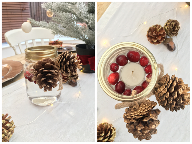 Tealights in Mason Jars with cranberries and pine cones