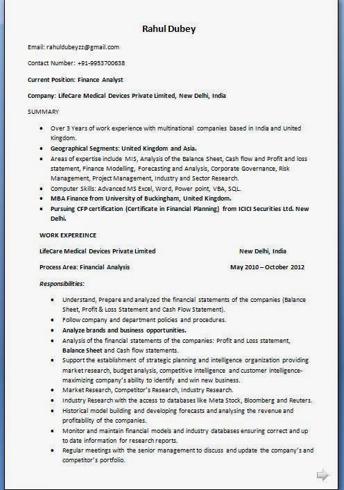 Finance Analyst Resume Format