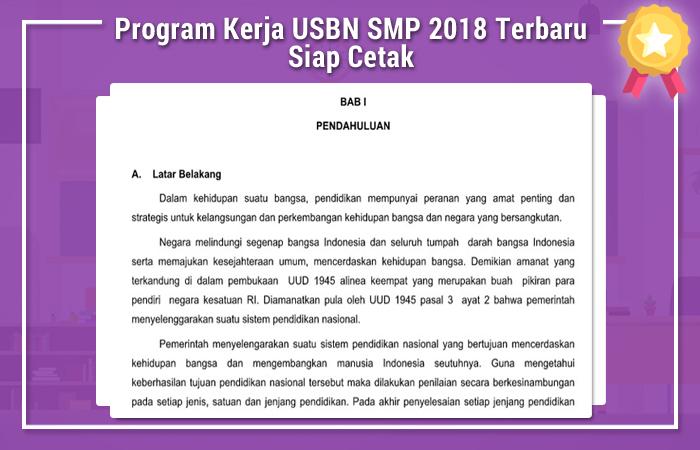 Program Kerja USBN SMP 2018 Terbaru Siap Cetak