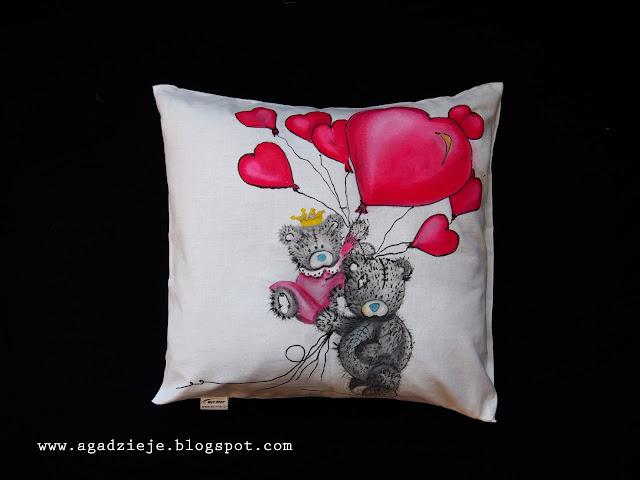 Walentynkowe misie  ( malowanie na tkaninie )