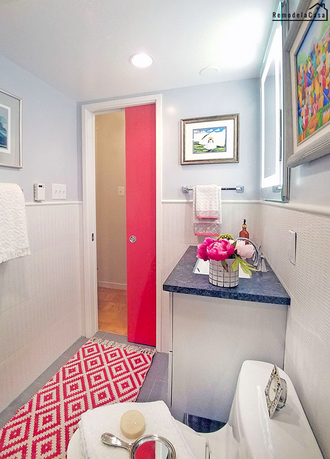 white and gray small bathroom with fuchsia door and accesrories