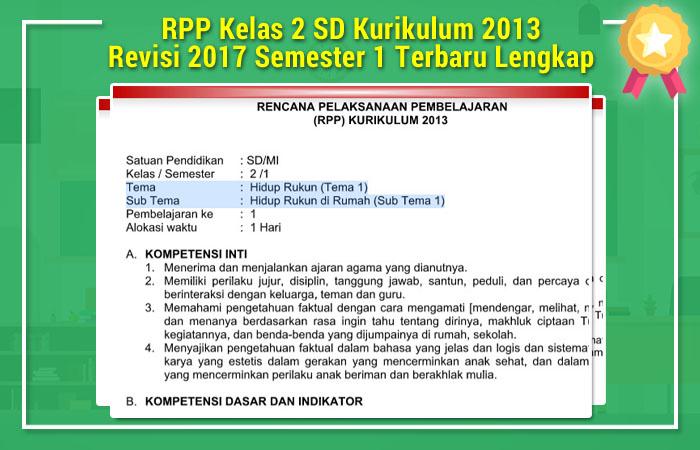 File Pendidikan RPP Kelas 2 SD Kurikulum 2013 Revisi 2017 Semester 1 Terbaru Lengkap