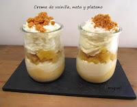 Crema de vainilla, nata y plátano