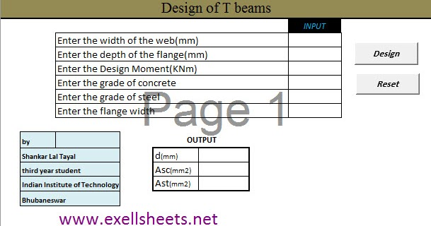 T Beam Design Tool Excel Sheet
