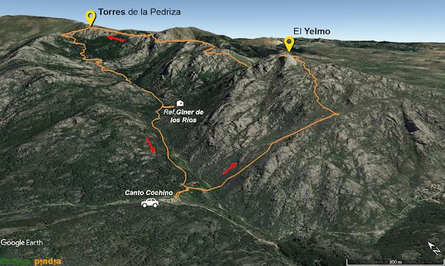 Ruta señalizada por el Parque de la Pedriza señalando el Yelmo y las Torres de la Pedriza desde Canto Cochino