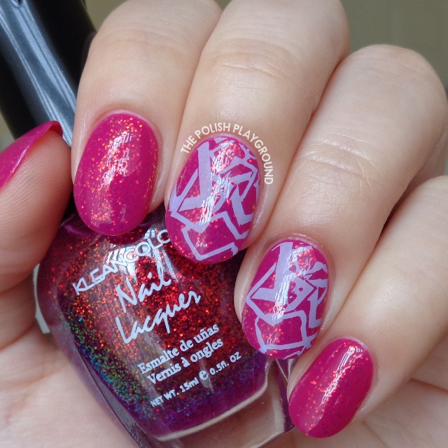 Raspberry and Glitter Combination with Purple Stamping Nail Art
