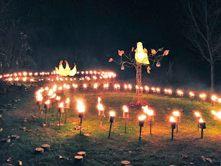 Pic of Partridge in Pear Tree and 3 French hens in circles of lit torches of fire