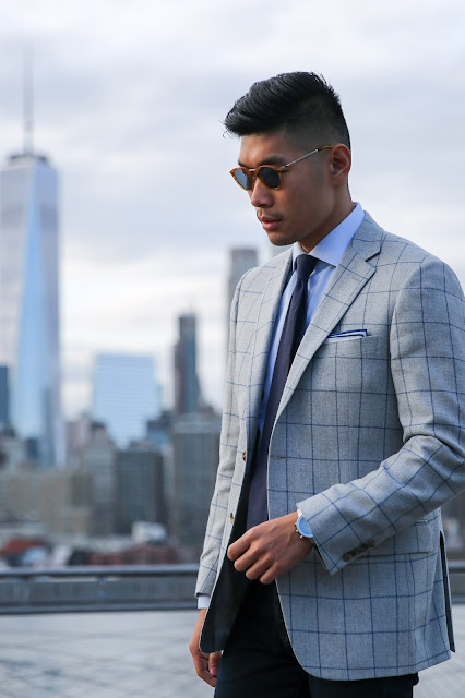 Levitate Style menswear with Leo Chan Windowpane Blazer