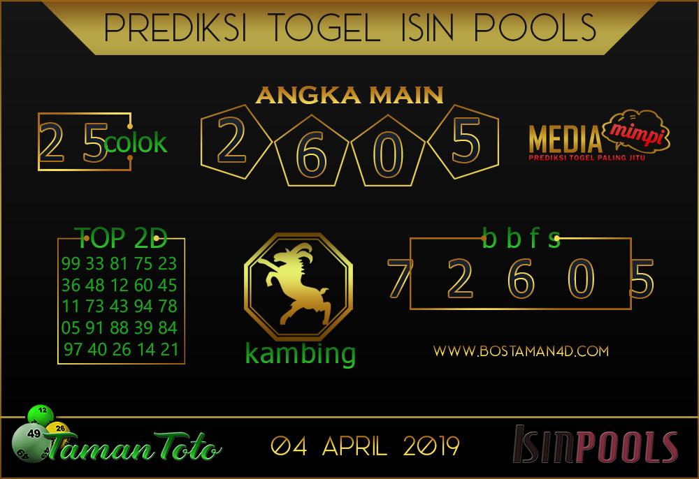 Prediksi Togel ISIN TAMAN TOTO 04 APRIL 2019