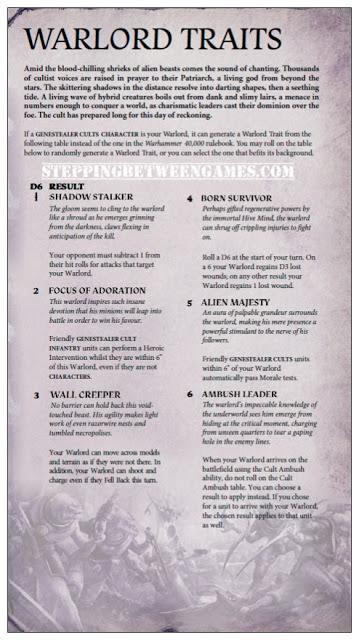 Warord traits Cultos Genestealer