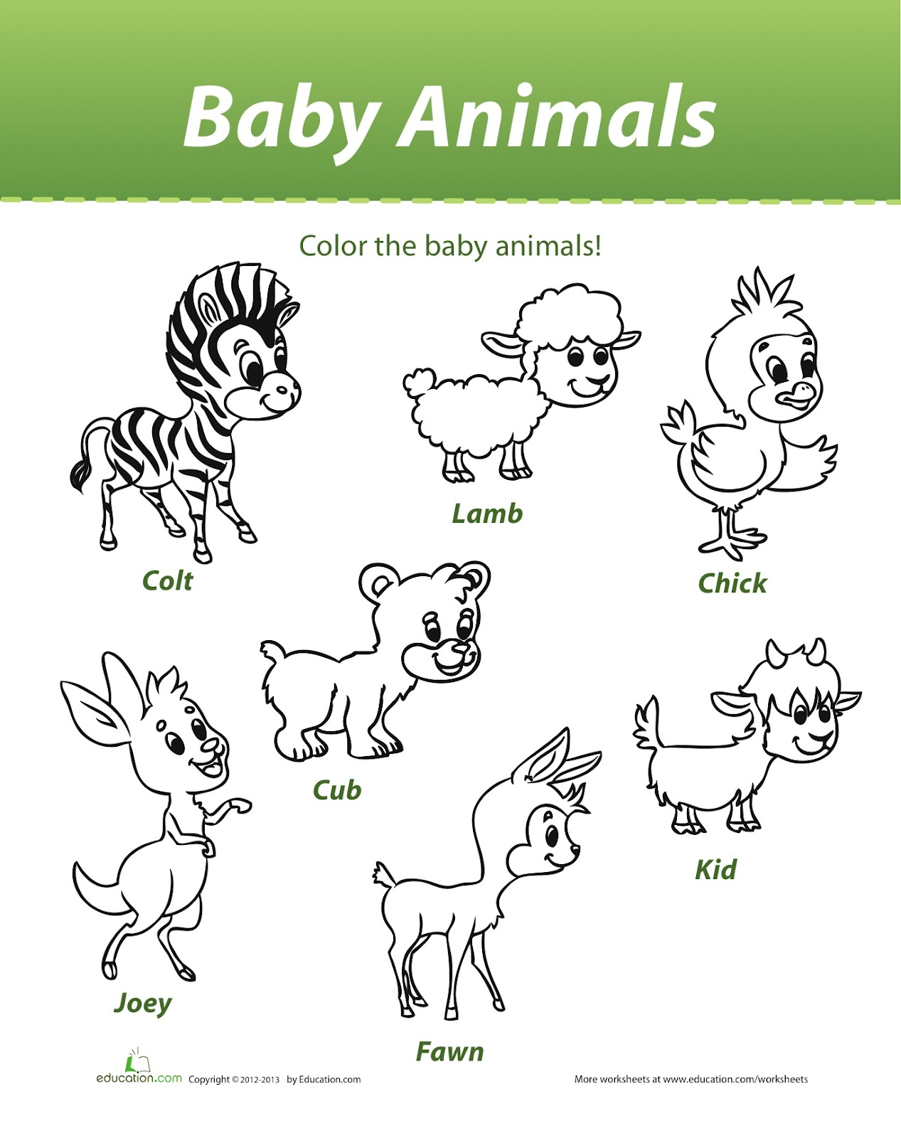 worksheet Farm Animal Worksheets animals and their babies match farm to realistic luna lara baby colouring sheet