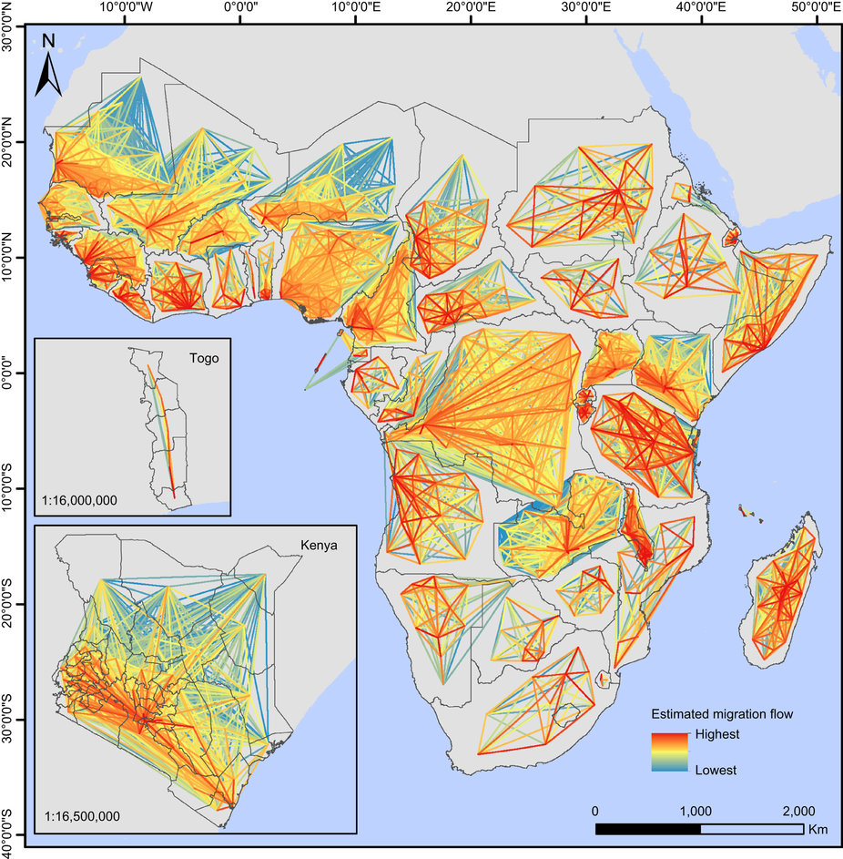 Estimated internal human migration flows between subnational administrative units for every malaria endemic country in Africa