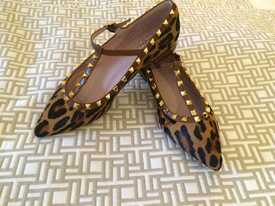 My Midlife Fashion Leopard Print pointed stud flat t bar shoes