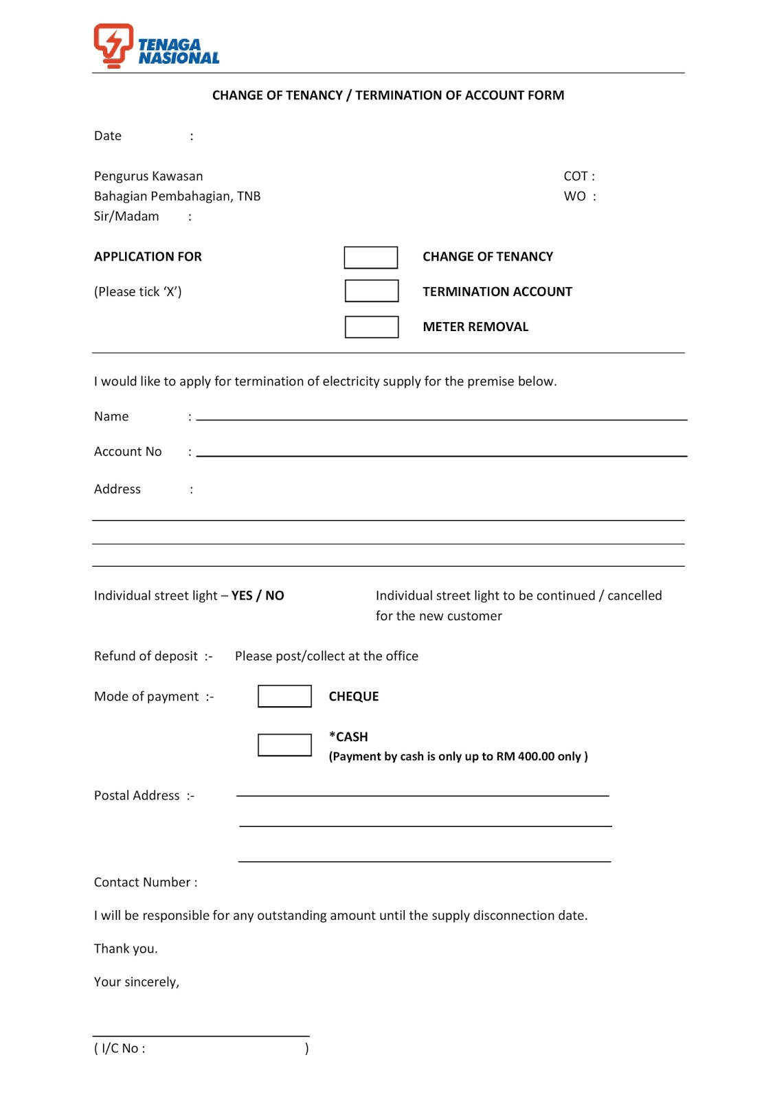 life is beautiful change of ownership tnb change of tenancy form domestic electricity supply application form