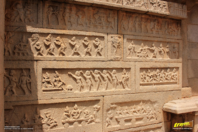 Relief sculptures on inner enclosure walls of Hazara Rama temple complex in Hampi, Ballari district, Karnataka, India