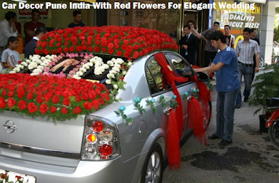 Car Decor Pune India With Red Flowers For Elegant Wedding