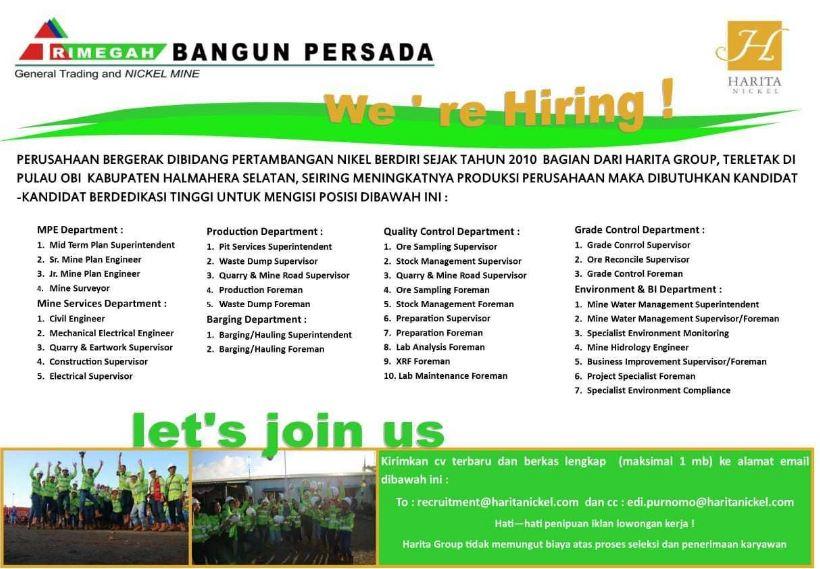 Lowongan Kerja Trimega Bangun Persada - Harita Group Desember 2018 sampai Januari 2019