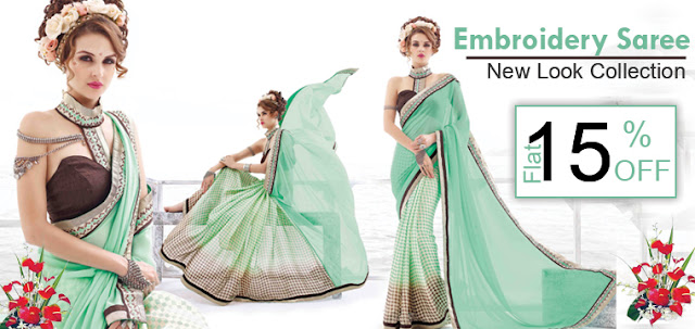 Women New Fancy party wear embroidery sarees online shopping with discount offer sale at pavitraa.in