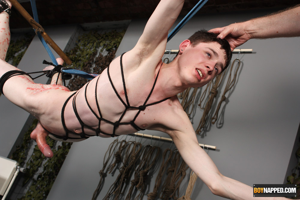 Twink jake all tied up rubber speedo barefoot ball gag