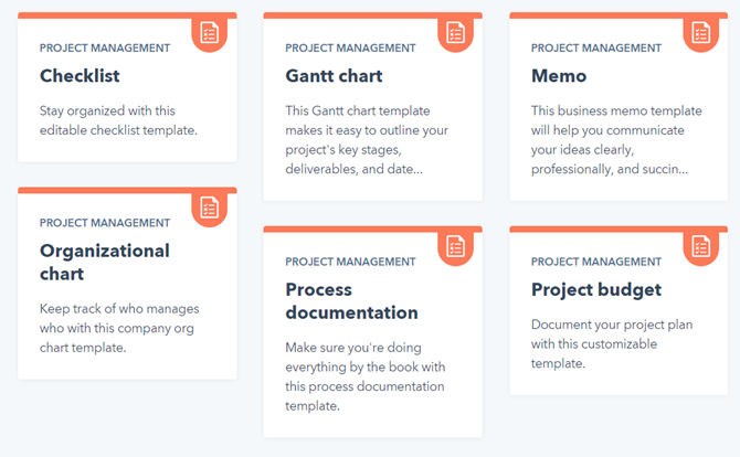 Hubspot's Free Project Management Templates