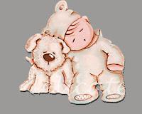 silueta de madera infantil bebé durmiendo con conejito babydelicatessen