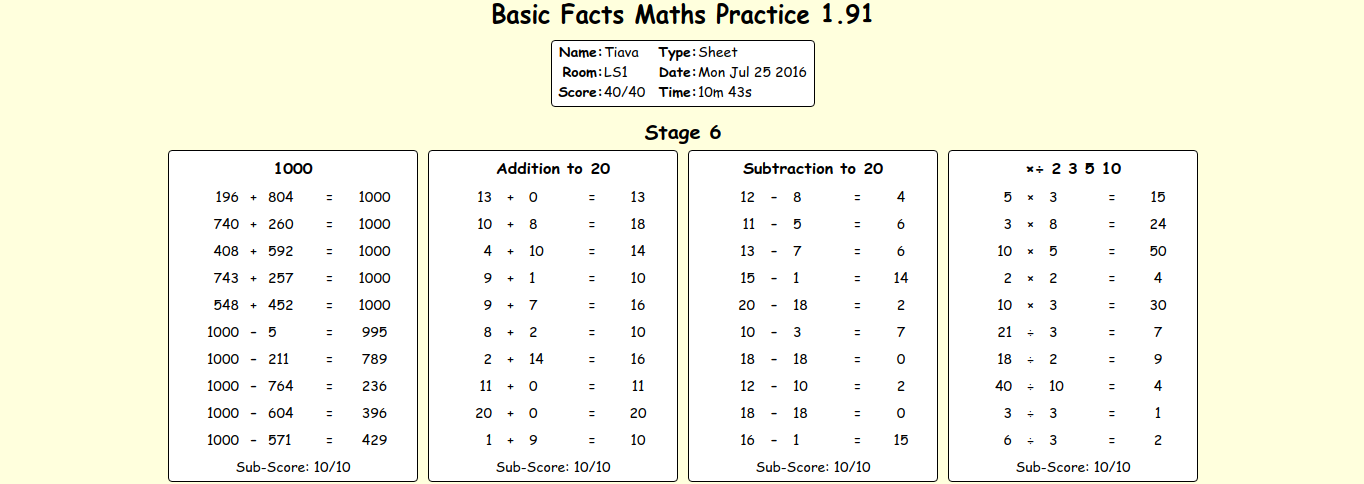 Tiava l: Basic Facts Maths Practice 1.91 - Stage 6 - Prototec