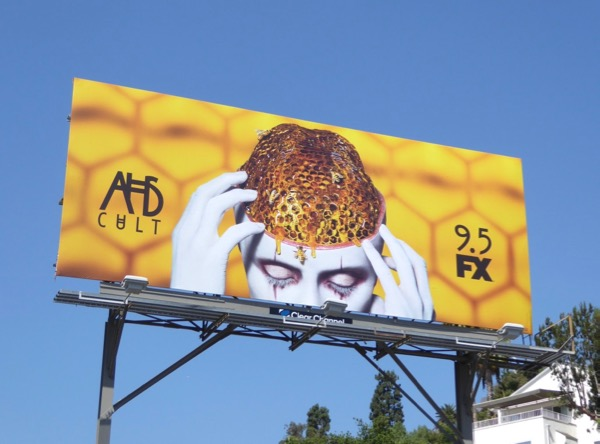 AHS Cult honeycomb brain billboard