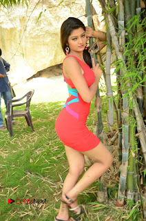 Actress Poojitha  Pictures in Red Short Dress at Bullet Movie Opening  0173