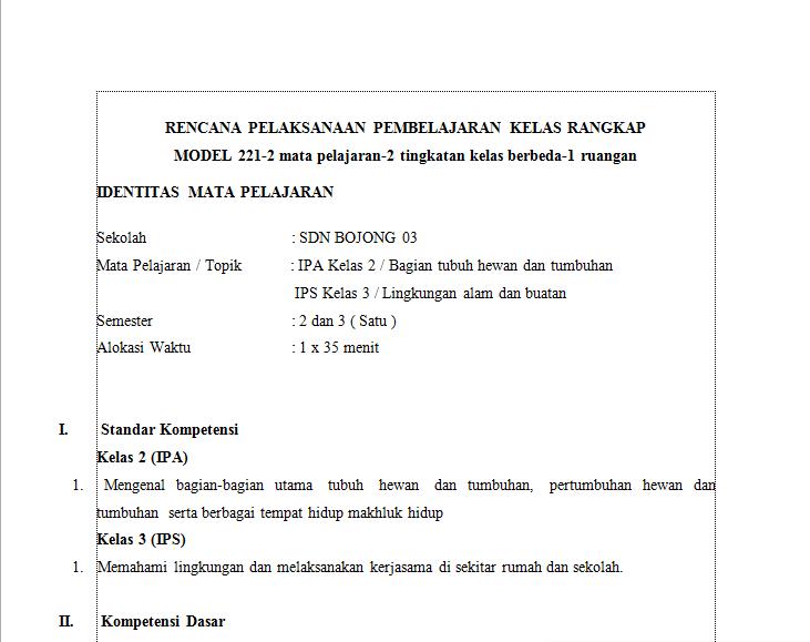 Download Rpp Kelas Rangkap Contoh Rpp Kurikulum 2013 Sd Smp Sma
