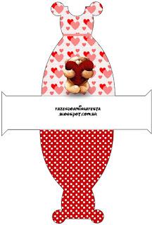 Teddy Bear in Love Free Printable Dress Box.