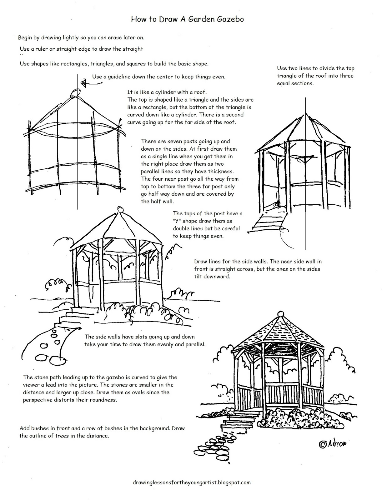 How To Draw Worksheets For The Young Artist How To Draw A Garden Gazebo Worksheet And Drawing