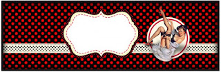 Pin Up in Black with Red Polka Dots Free Printable  Labels.