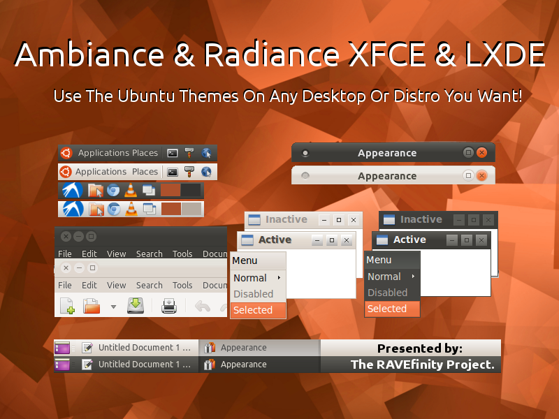 http://www.ravefinity.com/p/ambiance-radiance-for-xfce-lxde.html