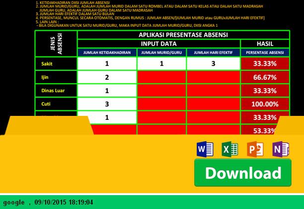 Aplikasi Pembuat Persentase Absensi Siswa SD MI SMP MTS SMA SMK MA dengan Microsoft Excel - Download