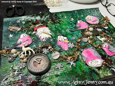 placement of the Australian Galahs and their friends - mixed media art by Jenny James