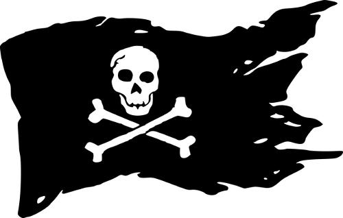 Jolly Roger black and white pirate flag skull and crossbones