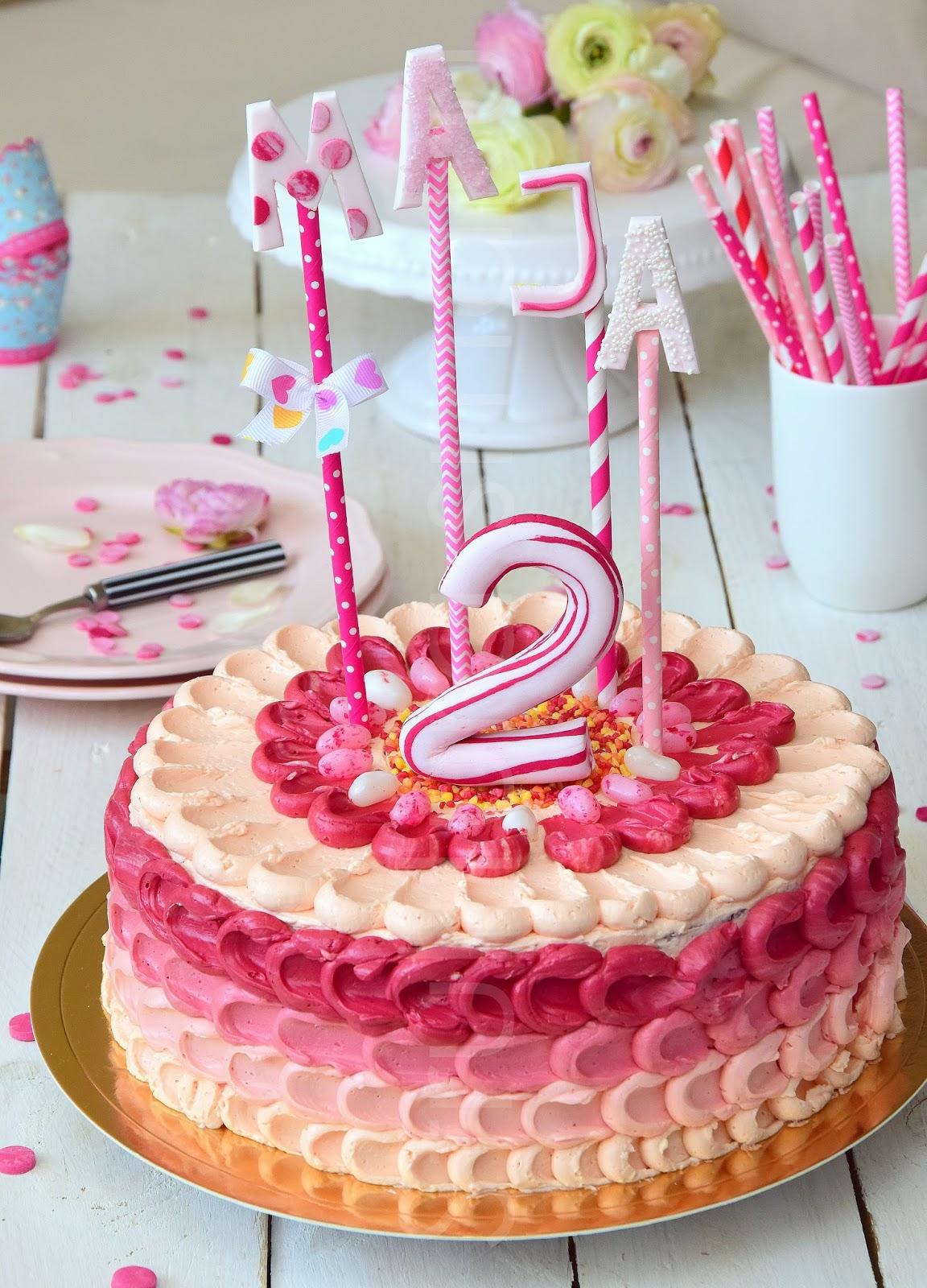 Słodki Tort Urodzinowy Ombre Dla Dziewczynki Struktura Smaku
