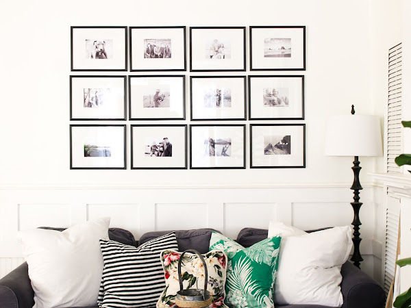 Picture Gallery Wall Using Dollar Store Frames